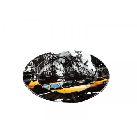 Fém hamutál, kör alakú - Streets of New York - 10cm