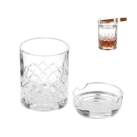 Whiskis pohár szivar hamutállal kombinálva - Angelo szivaros ajándék szett