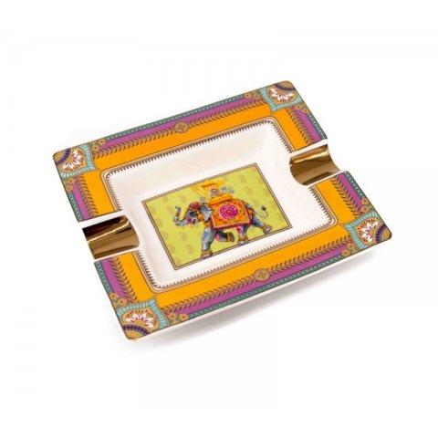 Angelo márkájú elefántos indiai mintás porcelán hamutál - 2 szál szivarnak