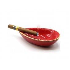 Adorini Leaf porcelán szivar hamutál 1 szivar számára arany szegéllyel - piros