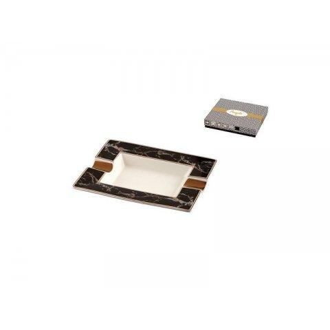 Szivaros hamuzó - Porcelán, fekete/fehér márvány mintás 2 szivar részére