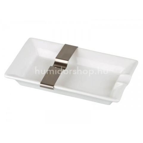 Szivar hamutál - Porcelán, fehér - fém szivartartó betéttel