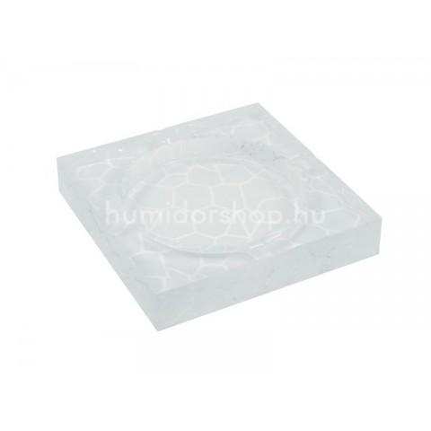 Négyzetes kristály üveg szivar hamutál 4 szivar részére - antik mészkő mintás
