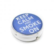 Kör alakú zsebhamutál - Keep Calm and Smoke On felirattal - kék
