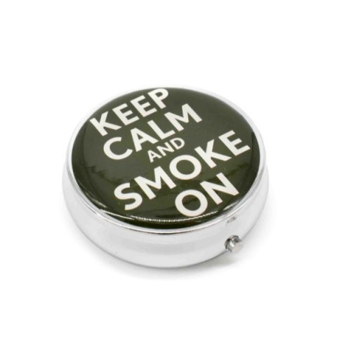 Kör alakú zsebhamutál - Keep Calm and Smoke On felirattal - fekete
