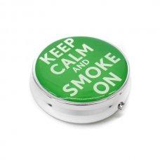 Kör alakú zsebhamutál - Keep Calm and Smoke On felirattal - zöld