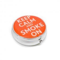 Kör alakú zsebhamutál - Keep Calm and Smoke On felirattal - sárga