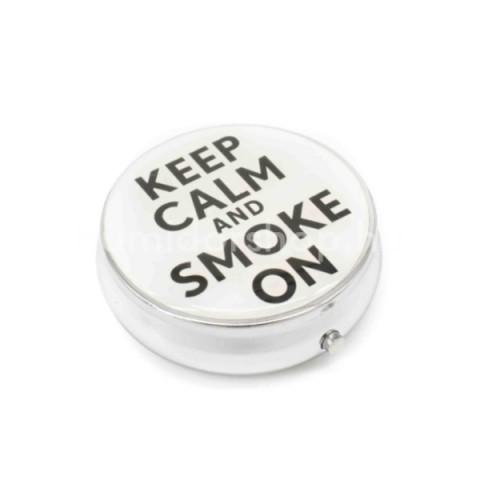Kör alakú zsebhamutál - Keep Calm and Smoke On felirattal - fehér