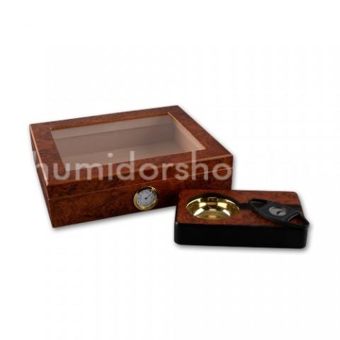 Humidor üvegtetővel 30 szivar tárolására cédrusfa - barna gyökérmintás + szivaros szett