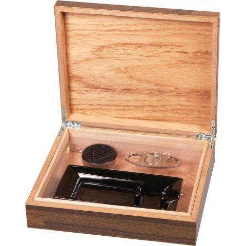 Fa mintás barna szivar tároló humidor 25 szál szivarnak, ajándék kerámia hamutállal és szivarvágóval - kristályos párásító