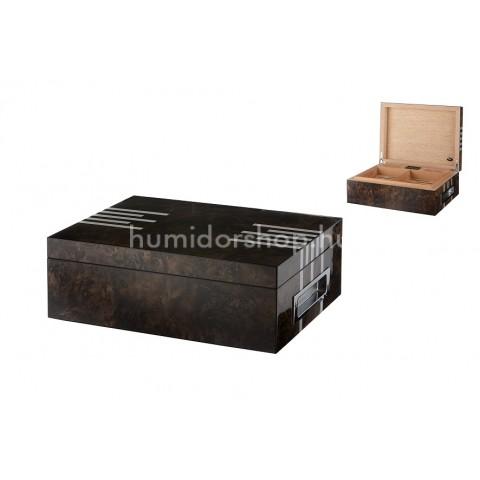 Angelo szivar doboz 50 szál szivar tárolására, spanyol cédrusfából - lakkozott barna ezüst csíkokkal