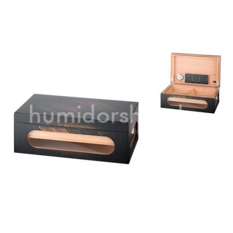 Humidor Antik 50 szivar, üveges szivar tartó doboz belső hygrométerrel és párásítóval - Angelo