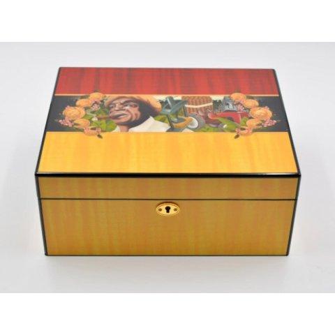 Angelo humidor 50 szál szivar részére, Cigarman mintás, lakkozott szivartartó doboz, kulccsal zárható, párásító és belső hygrometer