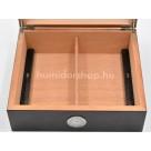 Humidor 50 szivar részére, fekete - üveg tetős szivar doboz, szivar díszítéssel, külső hygrometer