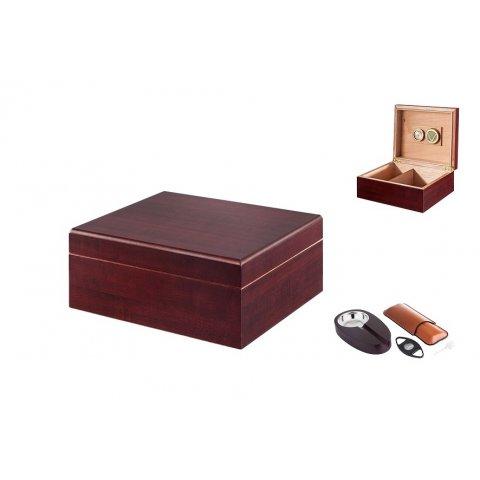 Angelo humidor 40 szál szivar részére, barna színű szivar tároló doboz, belső hygrométerrel, párásítóval + AJÁNDÉK szett!