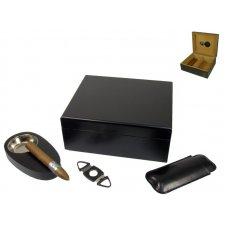 Angelo humidor 40 szál szivar részére, fekete színű szivar tároló doboz, belső hygrométerrel, párásítóval + AJÁNDÉK szett!