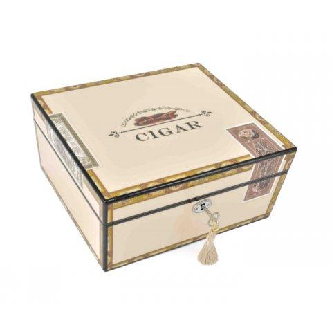 Humidor 35 szál szivar részére, Cigar mintás, lakkozott szivartartó doboz, kulccsal zárható, párásító és belső hygrometer - Angelo