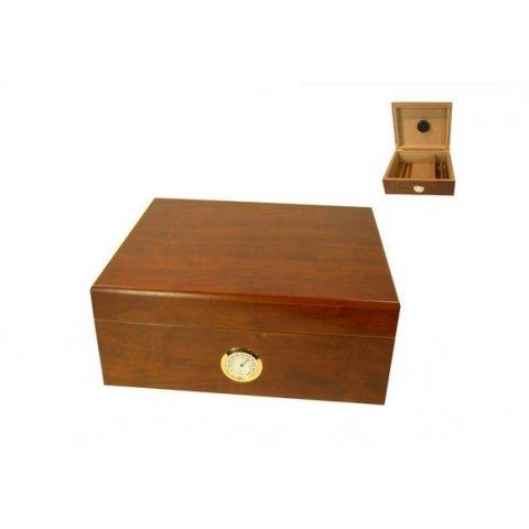 Szivar tároló 40 szál szivar részére, barna színű cédrusfa szivar doboz, párásítóval, külső hygrométerrel - Angelo