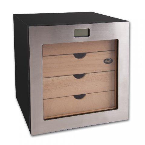 Angelo - Humidor szekrény 80 szivar részére, szivartartó szekrény, fém keretes üveg ajtóval, külső digitális higrométerrel