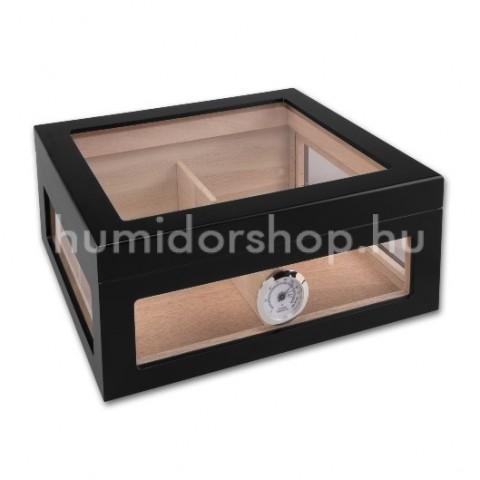 Üveges szivar tároló humidor, fekete külső hygrométerrel