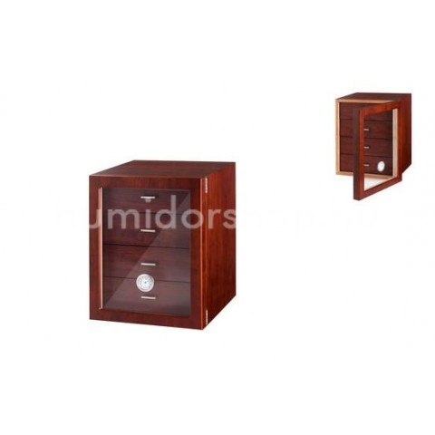 Humidor szekrény 80 szivar részére, barna színű, 4 fiókkal, külső hygrometer, üveg ajtó - Angelo