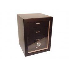 Humidor szekrény 80 szivar részére, fekete színű, 4 fiókkal, külső hygrometer, üveg ajtó - Angelo