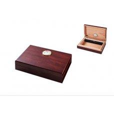 Utazó humidor - cédrusfa szivartartó doboz, párásítóval és külső hygrométerrel, barna (16x11x4cm)