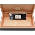 Utazó humidor - cédrusfa szivartartó doboz, párásítóval és külső hygrométerrel, fekete (19x11cm)