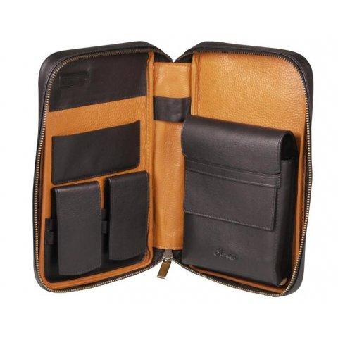 Eredeti bőr Passatore utazó humidor 5 szivar részére és tároló rekeszek egyéb szivaros kiegészítőknek