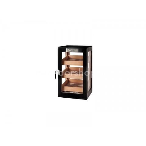 Üveges szivar tároló szekrény 90-110 szál szivarnak, cédrusfa belsővel, körbe üveges, digitális hygrométer - Angelo