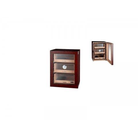 Gyökérfa mintás szivar tároló szekrény 3 fiókkal 100 szál szivar részére cédrusfából, beépített higrométer, Akrylpolimeres párásító