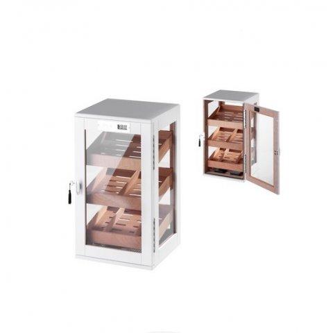 Matt fehér színű üveges szivar tároló szekrény 90-110 szál szivarnak, cédrusfa belsővel, körbe üveges digitális higrométerrel - Angelo