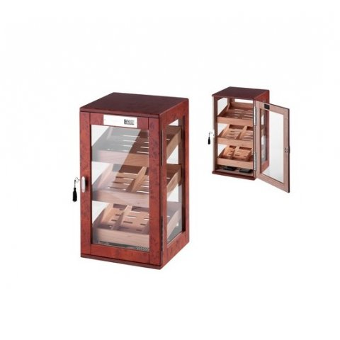 Gyökérfa mintás üveges szivar tároló szekrény 90-110 szál szivarnak, cédrusfa belsővel, körbe üveges, digitális hygrométer - Angelo