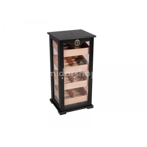 Gastro humidor - szivar tároló üveges szekrény 150 szál szivarnak, cédrusfa belső, körbe üveges, hygrométer - fekete