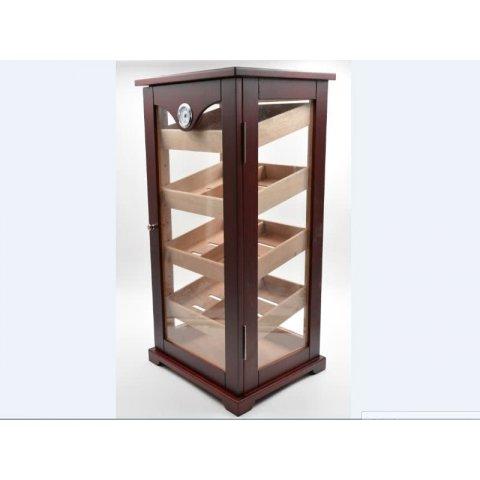 Gasztro humidor - szivar tároló üveges szekrény 150 szál szivarnak, cédrusfa belső, körbe üveges, hygrométer - barna