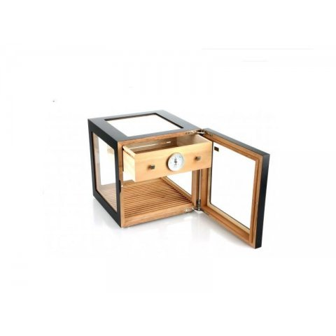 Adorini Cube Deluxe Humidor, fekete szivar szekrény - körbe üveges, 100 szál szivarnak