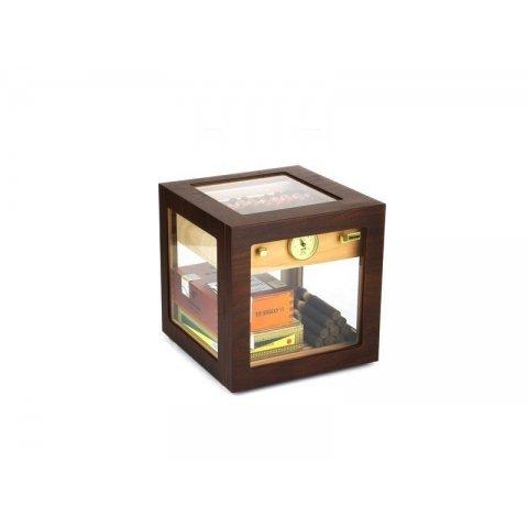 Adorini Cube Deluxe Humidor, diófa színű szivar szekrény - körbe üveges, 100 szál szivarnak