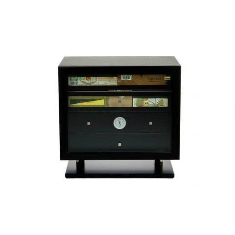 Adorini Varese Deluxe humidor fekete lakozott - kihúzható fiókokkal cédrusfa szivar szekrény, akár 500 szál szivar számára