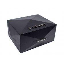 Gentili Humidor - Prismagof Prisma Nera - fekete szinü geometrikus formájú spanyol cédrusfa szivar tároló - 70 szál szivar részére