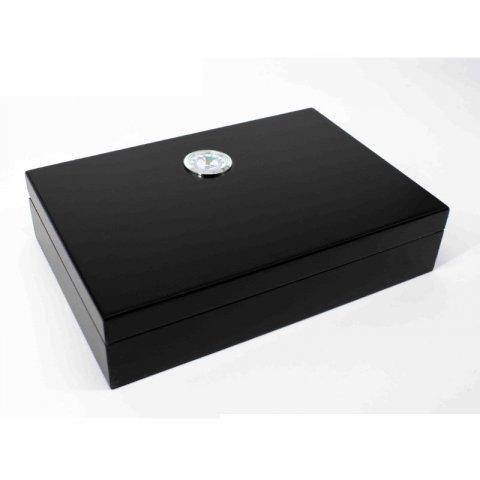 Padonio utazó humidor - cédrusfa szivartartó doboz, párásítóval és külső hygrométerrel, fekete (25,8x17,3cm)