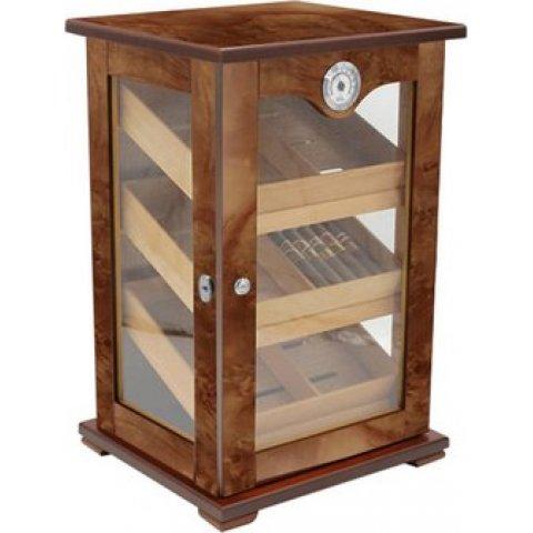 Üveges Padonio szivar tároló szekrény 120 szál szivarnak, cédrusfa belsővel, üveg ajtóval és gyökérfa borítással