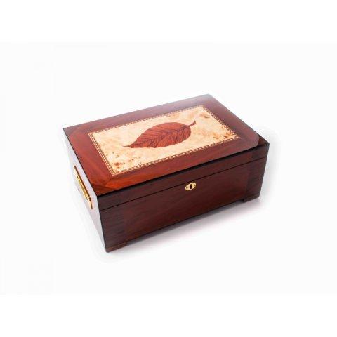 Santa Barbara szivar tartó doboz - 150 szivarnak - dohánylevél mintával és fogantyúkkal