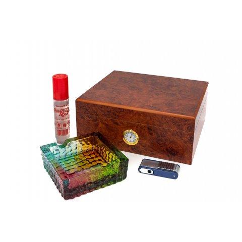 Humidorshop Cigar szett 2 - humidor 40szál szivarnak, színes üveg szivar hamuzó, szivargyújtó szivarfúróval