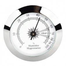 Angelo humidor hygrométer - Króm kerettel, fehér számlappal - 50mm