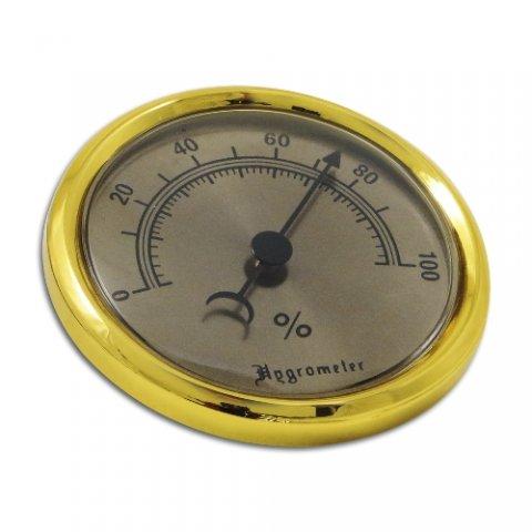 Humidor hygrométer - arany színű, nagy méretű