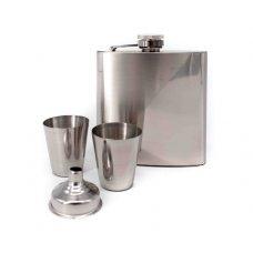 Rozsdamentes laposüveg, acél flaska szett - 2 pohár + tölcsér - 6oz. = 1.77dl