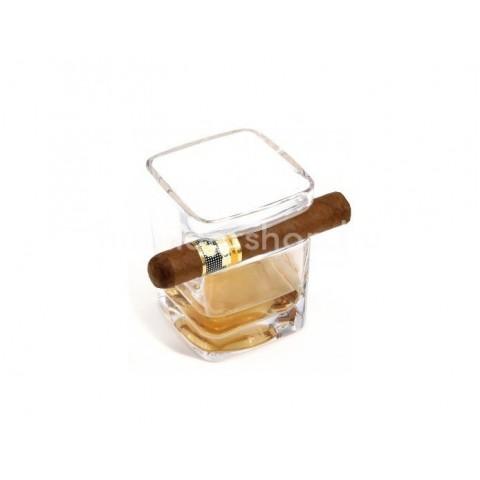 Adorini Rumos vagy Whiskys pohár, az oldalán szivar tartóval