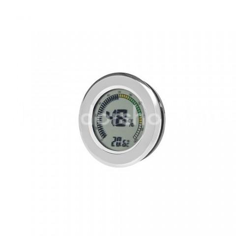 Angelo digitális humidor higrométer - króm színű, használható mint beépített páratartalom mérő is!