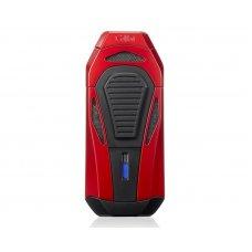 Colibri Boss III Jet Red Black szivar gyújtó 3-as szúrólánggal és kihajtható dupla pengés szivarvágóval - fekete/vörös