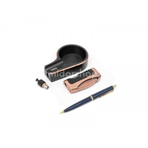 Hadson ajándék szett, szivargyújtóval és szivar hamuzóval, bronz és fekete színű - díszdobozban